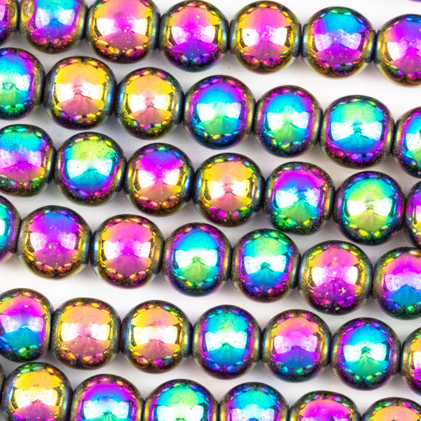 Hematite 8mm Electroplated Purple Rainbow Round Beads - approx. 8 inch strand
