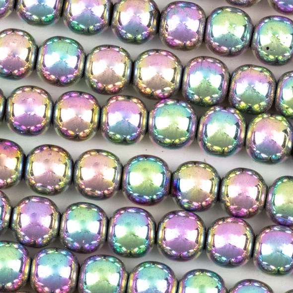 Hematite 8mm Electroplated Pink Rainbow Round Beads - approx. 8 inch strand