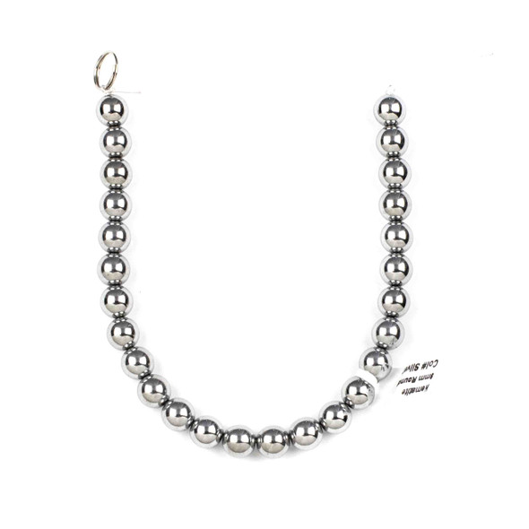 Hematite 8mm Plated Silver Round Beads - approx. 8 inch strand