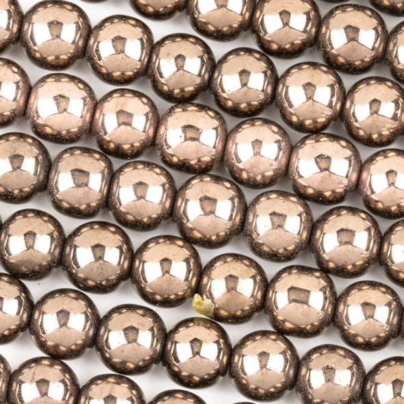 Hematite 8mm Electroplated Bronze Round Beads - approx. 8 inch strand