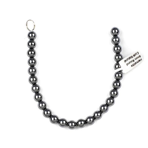 Hematite 8mm Round Beads - approx. 8 inch strand
