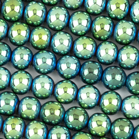 Hematite 8mm Electroplated Green Round Beads - approx. 8 inch strand