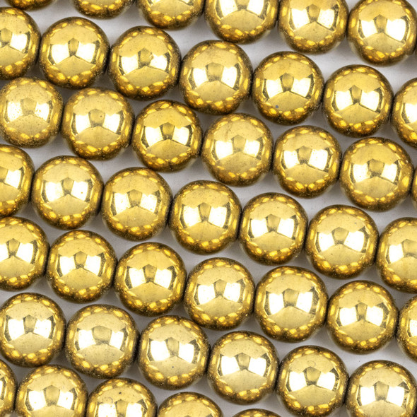 Hematite 8mm Electroplated Gold Round Beads - approx. 8 inch strand
