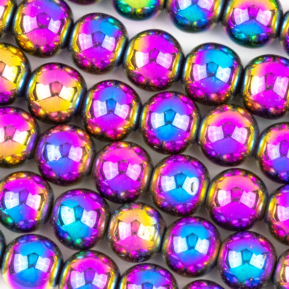 Hematite 10mm Electroplated Purple Rainbow Round Beads - approx. 8 inch strand