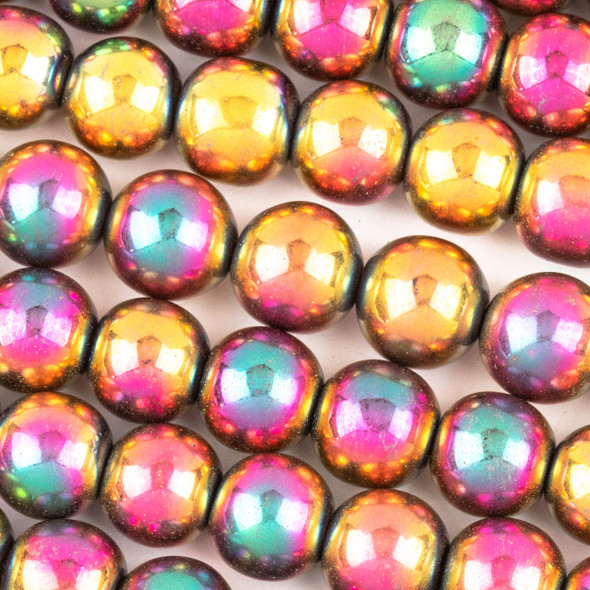 Hematite 10mm Electroplated Fuchsia Rainbow Round Beads - approx. 8 inch strand