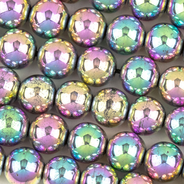 Hematite 10mm Electroplated Pink Rainbow Round Beads - approx. 8 inch strand