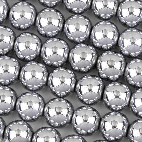 Hematite 10mm Plated Silver Round Beads - approx. 8 inch strand