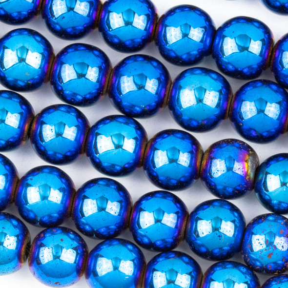 Hematite 10mm Electroplated Blue Round Beads - approx. 8 inch strand