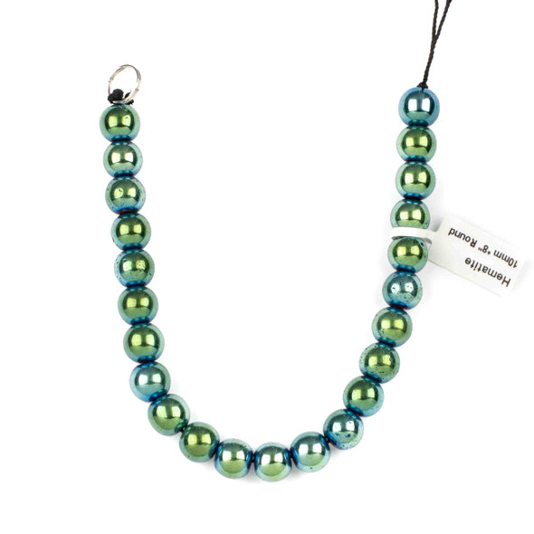 Hematite 10mm Electroplated Green Round Beads - approx. 8 inch strand