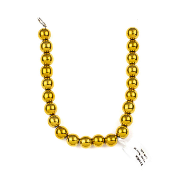 Hematite 10mm Electroplated Gold Round Beads - approx. 8 inch strand