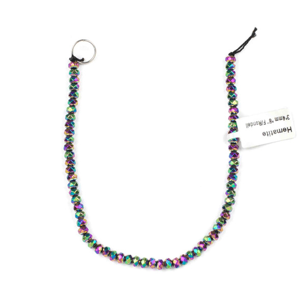 Hematite 3x4mm Electroplated Purple Rainbow Faceted Rondelle Beads - approx. 8 inch strand