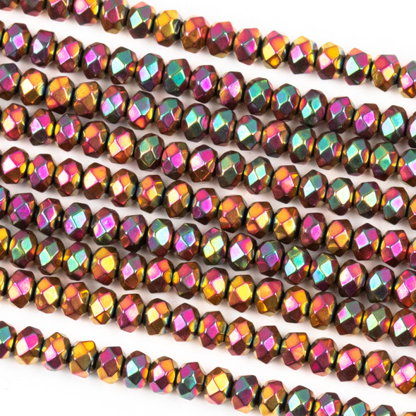 Hematite 3x4mm Electroplated Fuchsia Rainbow Faceted Rondelle Beads - approx. 8 inch strand