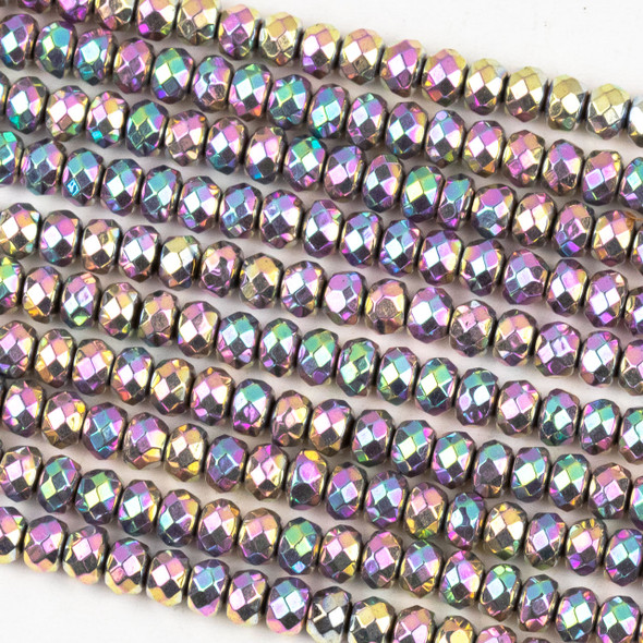 Hematite 3x4mm Electroplated Pink Rainbow Faceted Rondelle Beads - approx. 8 inch strand