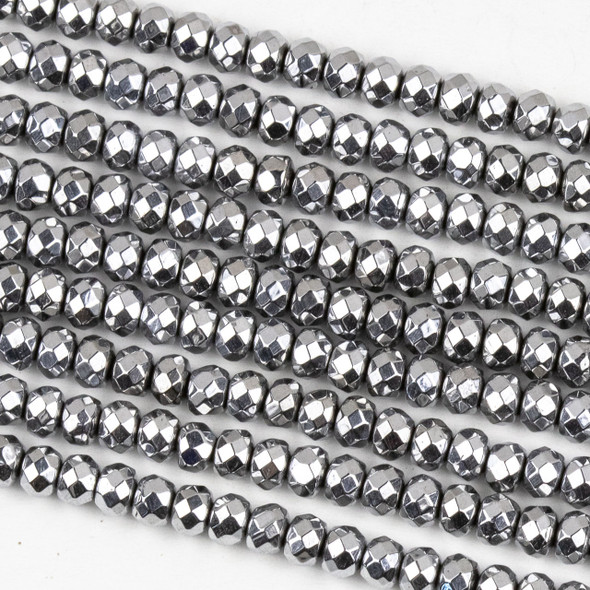 Hematite 3x4mm Plated Silver Faceted Rondelle Beads - approx. 8 inch strand