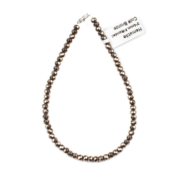 Hematite 3x4mm Electroplated Bronze Faceted Rondelle Beads - approx. 8 inch strand