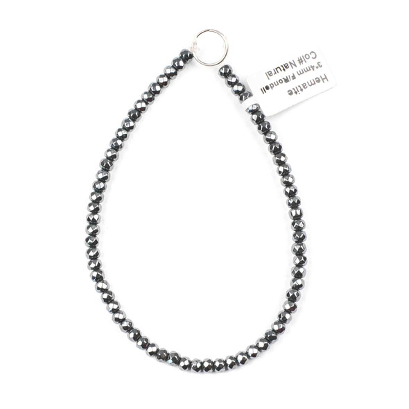 Hematite 3x4mm Faceted Rondelle Beads - approx. 8 inch strand