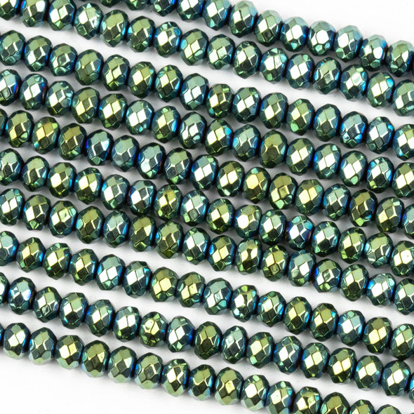 Hematite 3x4mm Electroplated Green Faceted Rondelle Beads - approx. 8 inch strand