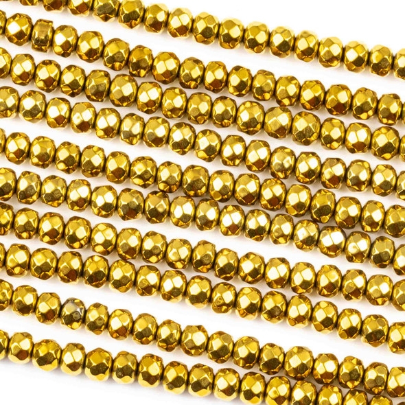 Hematite 3x4mm Electroplated Gold Faceted Rondelle Beads - approx. 8 inch strand