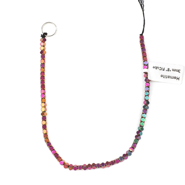 Hematite 3mm Electroplated Fuchsia Rainbow Faceted Cube Beads - approx. 8 inch strand