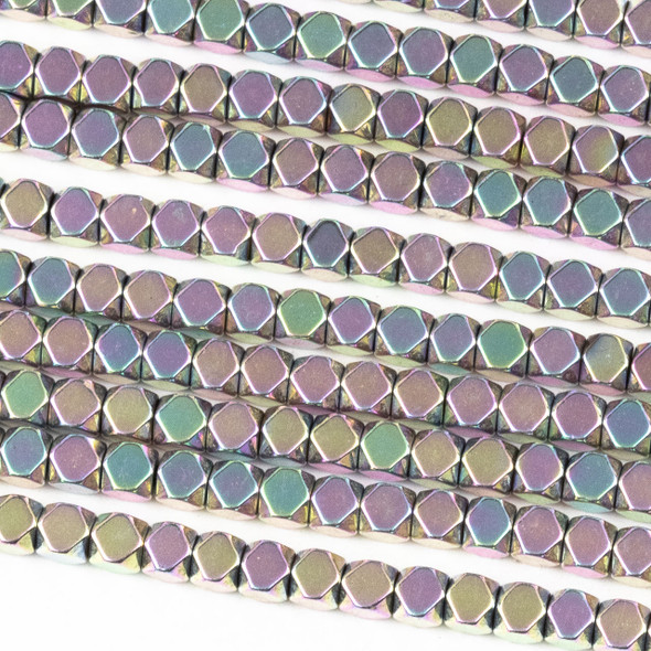Hematite 3mm Electroplated Pink Rainbow Faceted Cube Beads - approx. 8 inch strand