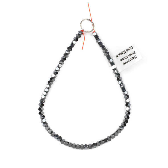 Hematite 3mm Faceted Cube Beads - approx. 8 inch strand