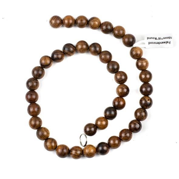 Palisander Wood 10mm Round Beads - 16 inch strand