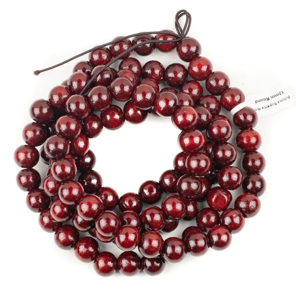 Schima Superba Wood Mala Necklace on Elastic Cord with 12mm Round Beads