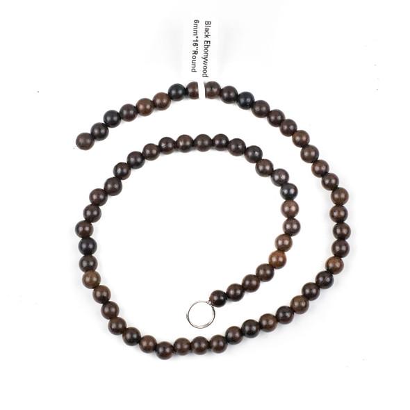 Black Ebony Wood 6mm Round Beads - 15 inch strand