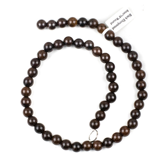 Black Ebony Wood 8mm Round Beads - 15.5 inch strand