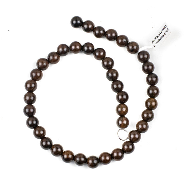 Black Ebony Wood 10mm Round Beads - 15.5 inch strand