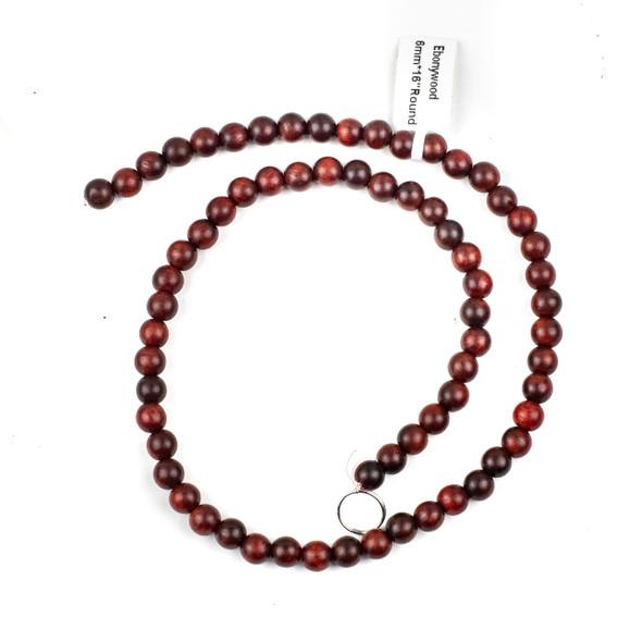 Ebony Wood 6mm Red Round Beads - 15 inch strand