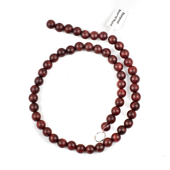 Ebony Wood 8mm Red Round Beads - 15.5 inch strand
