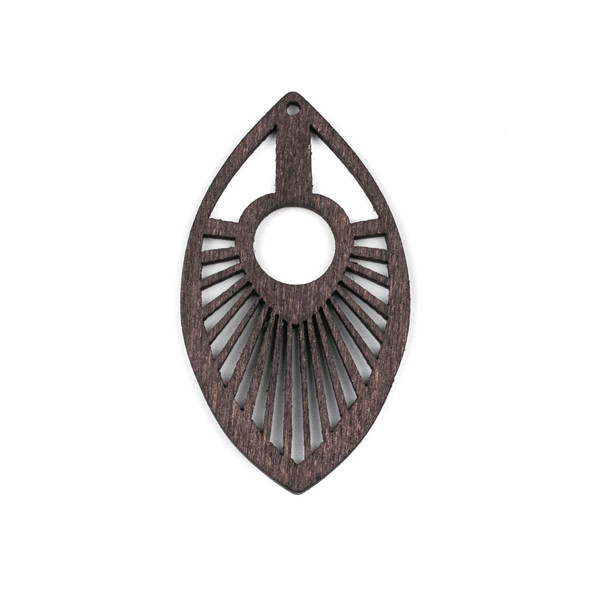 Aspen Wood Laser Cut 34x50mm Dark Brown Marquis Pendant - 1 per bag