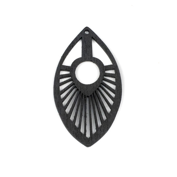 Aspen Wood Laser Cut 34x50mm Black Marquis Pendant - 1 per bag