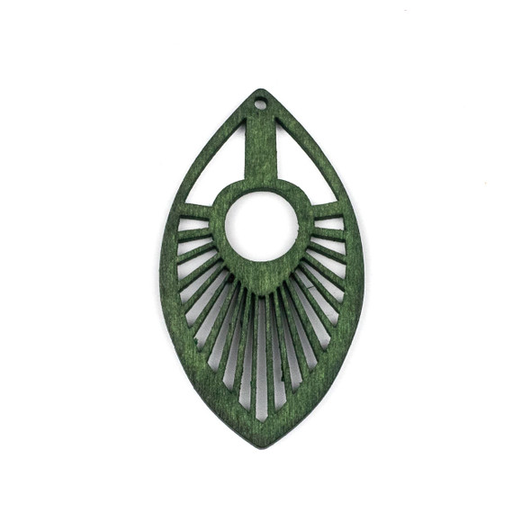 Aspen Wood Laser Cut 34x50mm Green Marquis Pendant - 1 per bag