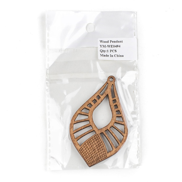 Aspen Wood Laser Cut 46x76mm Brown Pointed Teardrop Pendant - 1 per bag