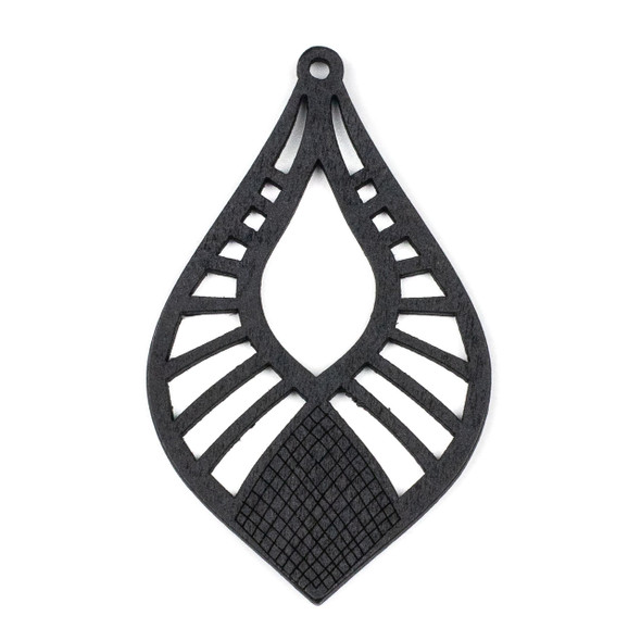 Aspen Wood Laser Cut 46x76mm Black Pointed Teardrop Pendant - 1 per bag