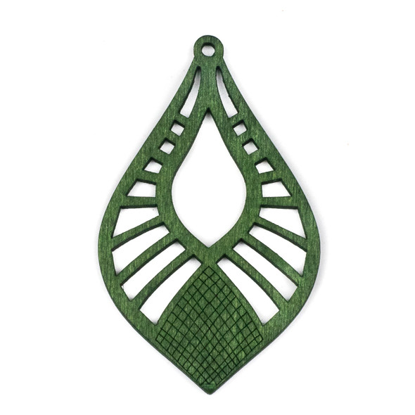 Aspen Wood Laser Cut 46x76mm Green Pointed Teardrop Pendant - 1 per bag