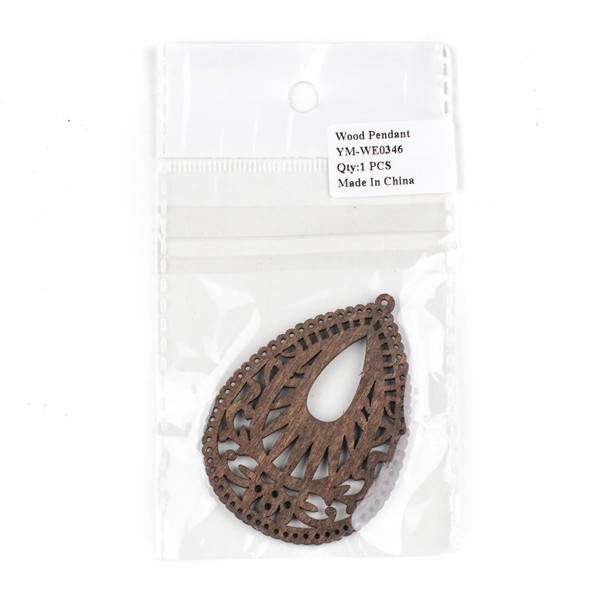 Aspen Wood Laser Cut 49x67mm Brown Intricate Teardrop Pendant - 1 per bag