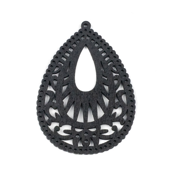 Aspen Wood Laser Cut 49x67mm Black Intricate Teardrop Pendant - 1 per bag