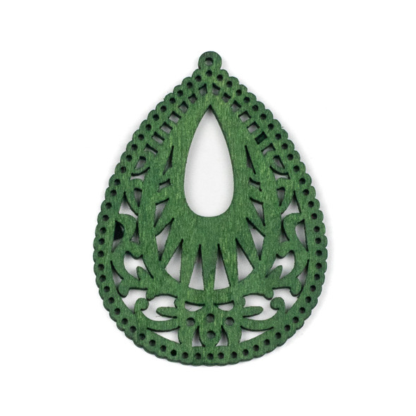 Aspen Wood Laser Cut 49x67mm Green Intricate Teardrop Pendant - 1 per bag