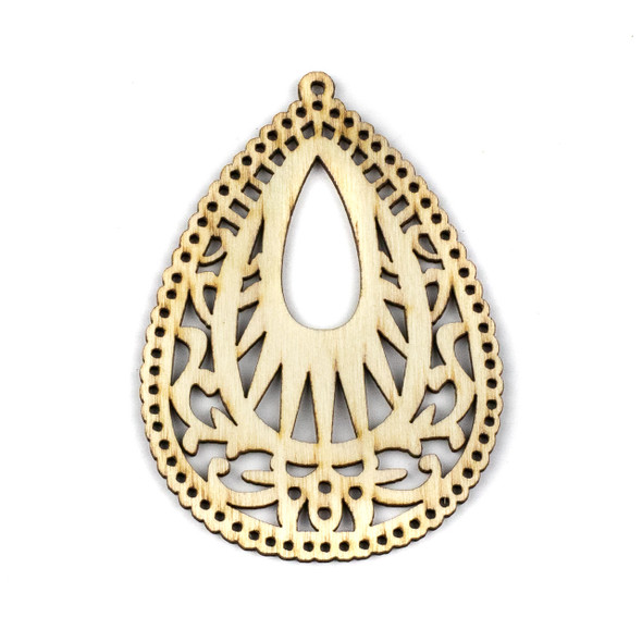 Aspen Wood Laser Cut 49x67mm Natural Intricate Teardrop Pendant - 1 per bag