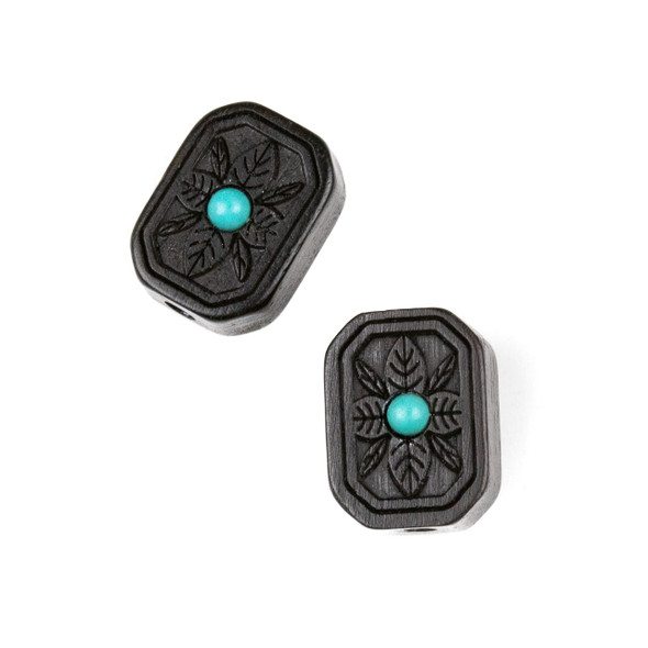 Carved Wood Focal Bead - 12x16mm Black Sandalwood Octagon with Blue Howlite Center and Leaves, 1 per bag