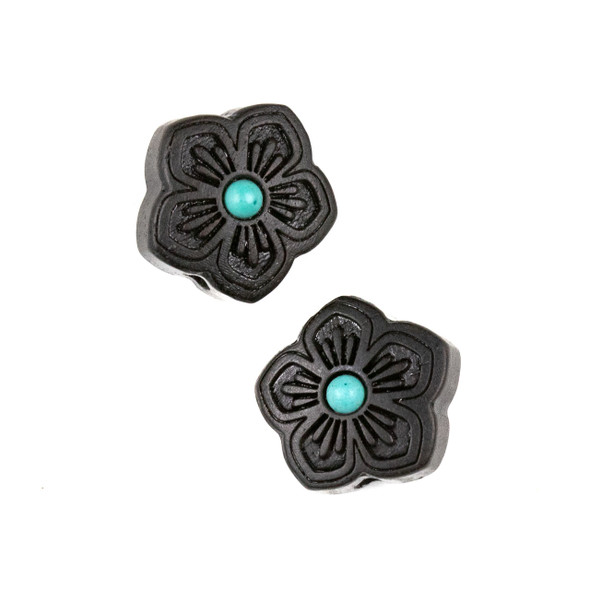 Carved Wood Focal Bead - 16mm Black Sandalwood Star Flower with Blue Howlite Center, 1 per bag