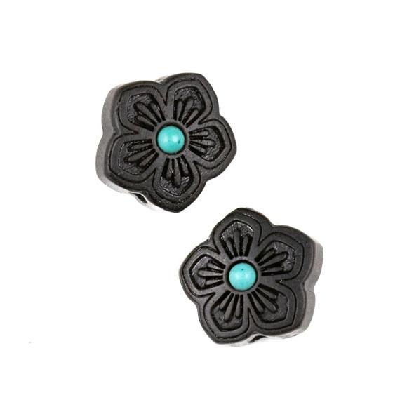 Carved Wood Focal Bead - 16mm Black Sandalwood Star Flower with Blue Howlite Center, 1 per bag