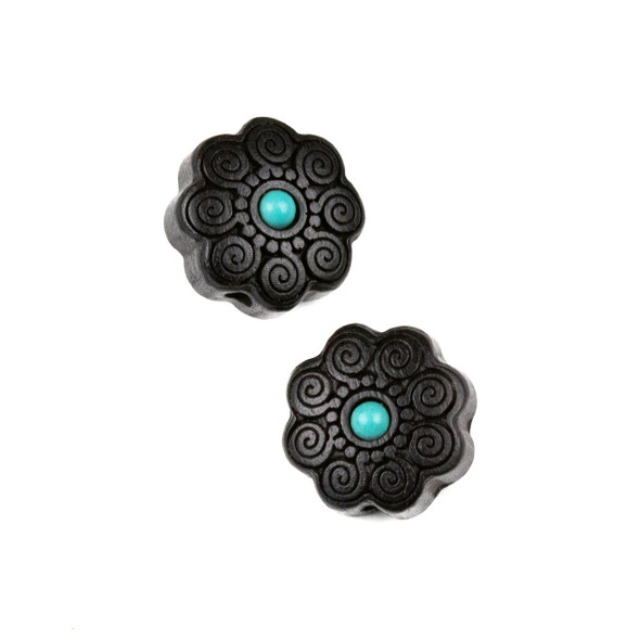Carved Wood Focal Bead - 16mm Black Sandalwood Flower with Blue Howlite Center and Spirals, 1 per bag