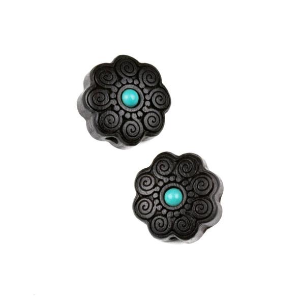 Carved Wood Focal Bead - 16mm Black Sandalwood Flower with Blue Howlite Center and Spirals, 1 per bag