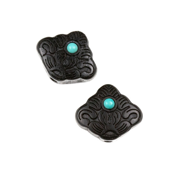 Carved Wood Focal Bead - 10x16mm Black Sandalwood Lotus with Blue Howlite Center, 1 per bag