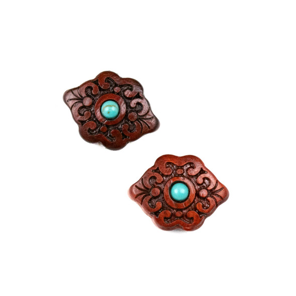 Carved Wood Focal Bead - 13x17mm Sandalwood Bead with Blue Howlite Center, 1 per bag
