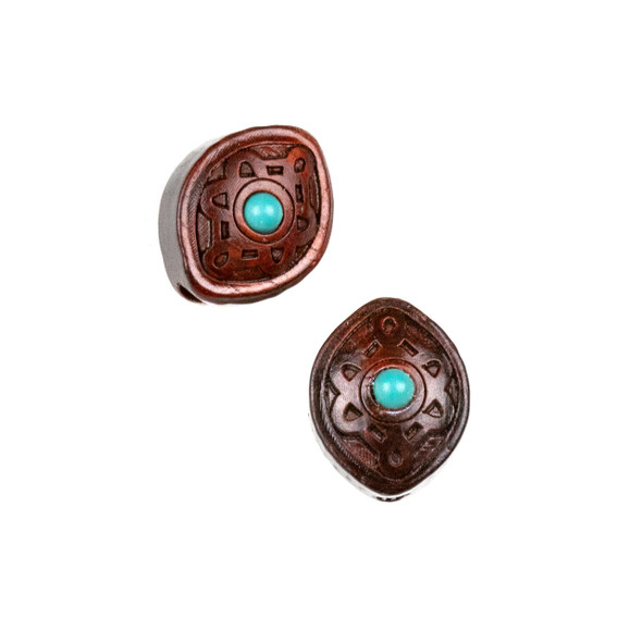 Carved Wood Focal Bead - 13x16mm Sandalwood Marquis with Blue Howlite Center, 1 per bag